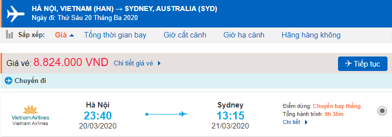 Giá vé máy bay đi Sydney Vietnam Airlines