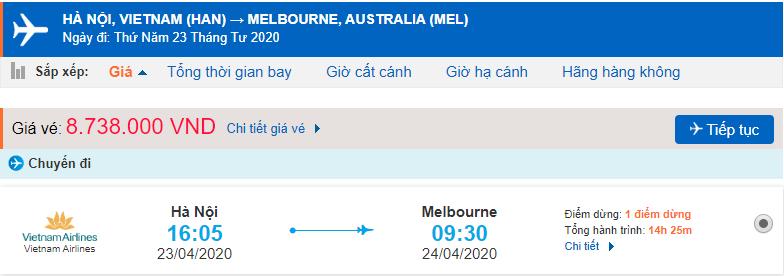 Giá vé máy bay đi Úc khứ hồi Vietnam Airlines