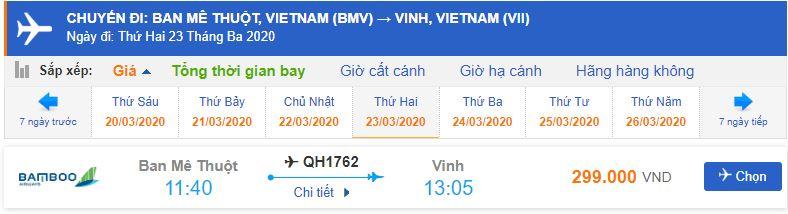 Giá vé máy bay đi Vinh Bamboo Airways