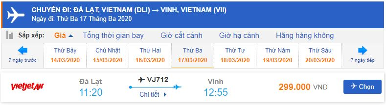 Giá vé máy bay đi Vinh Vietjet Air từ Đà Lạt