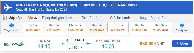 Giá vé máy bay đi Buôn Ma Thuột Bamboo Airways