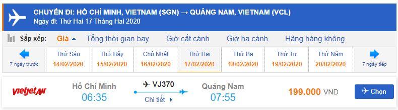 Giá vé máy bay từ TPHCM đi Chu Lai