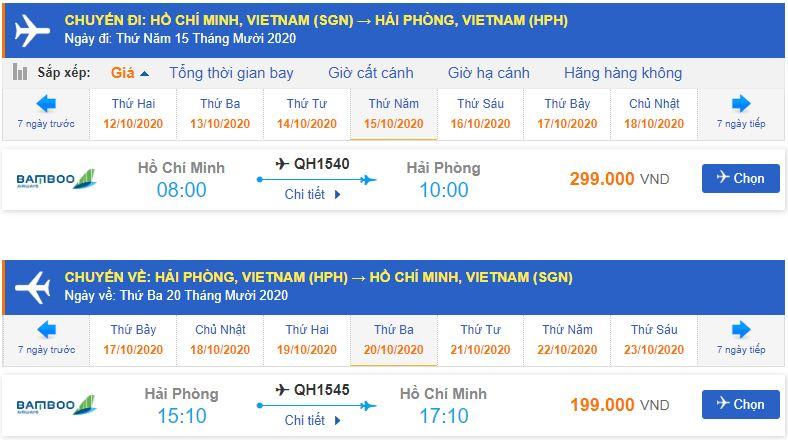 giá vé máy bay khứ hồi từ TPHCM đi Hải Phòng