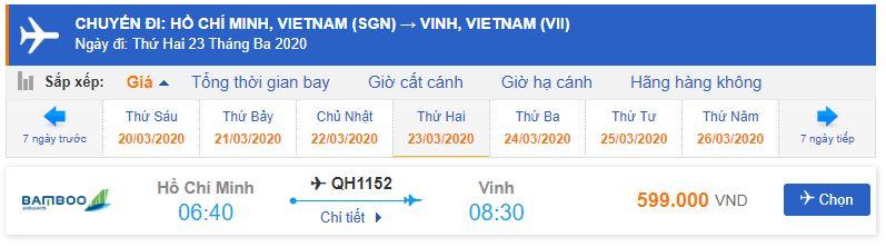Giá vé máy bay từ TPHCM đi Vinh Bamboo Airways