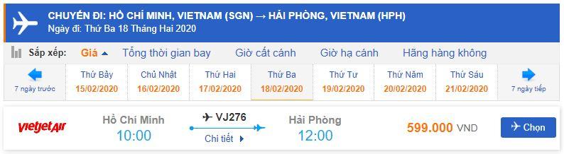 Mua vé máy bay đi Hải Phòng Vietjet Air bao nhiêu tiền?