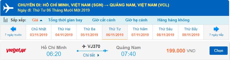 Giá vé máy bay đi Chu Lai Vietjet từ Hồ Chí Minh