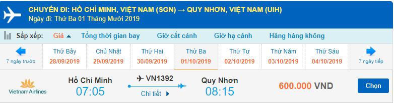 Vé máy bay đi Quy Nhơn tháng 10 từ TPHCM