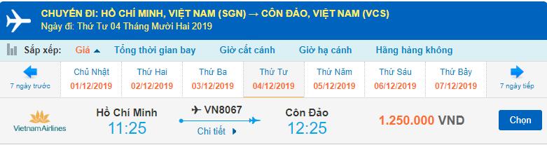 Giá vé máy bay đi Côn Đảo Vietnam Airlines