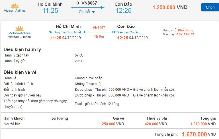 Chi tiết giá vé máy bay đi Côn Đảo Vietnam Airlines