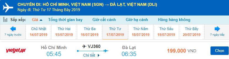 Giá vé máy bay đi Đà Lạt tháng 7 từ Vietjet