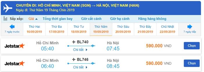 Giá vé máy bay TPHCM đi Hà Nội