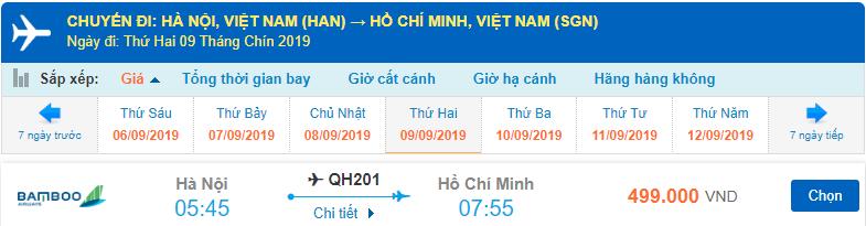 Giá vé máy Hà Nội Sài Gòn tháng 9 từ Bamboo Airways