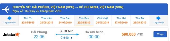 Giá vé chiều về Sài Gòn Hải Phòng