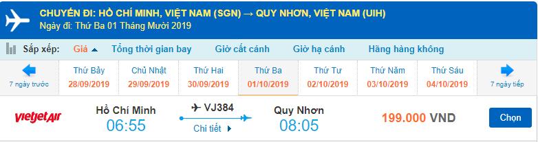 Giá vé máy bay đi Quy Nhơn Vietjet Air từ Hồ Chí Minh