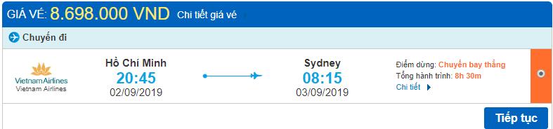 Giá vé Hồ Chí Minh đi Sydney Vietnam Airlines