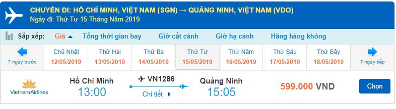 Giá vé máy bay Hồ Chí Minh đi Vân Đồn Vietnam Airlines