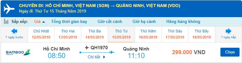 Vé máy bay đi Vân Đồn Bamboo Airways từ Hồ Chí Minh