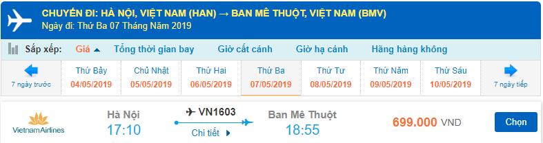 Vé máy bay Hà Nội đi Buôn Ma Thuột Vietnam Airlines