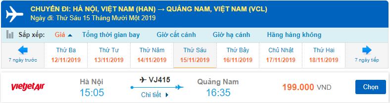 Giá vé máy bay Vietjet Hà Nội Chu Lai