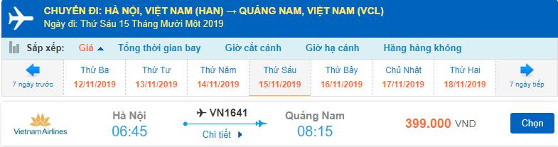 Giá vé máy bay Vietnam Airlines đi Chu Lai từ Hà Nội