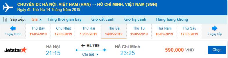 Giá vé máy bay Hà Nội đi Sài Gòn Jetstar