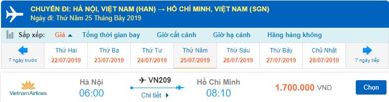 Giá vé máy bay đi Hà Nội Sài Gòn tháng 7