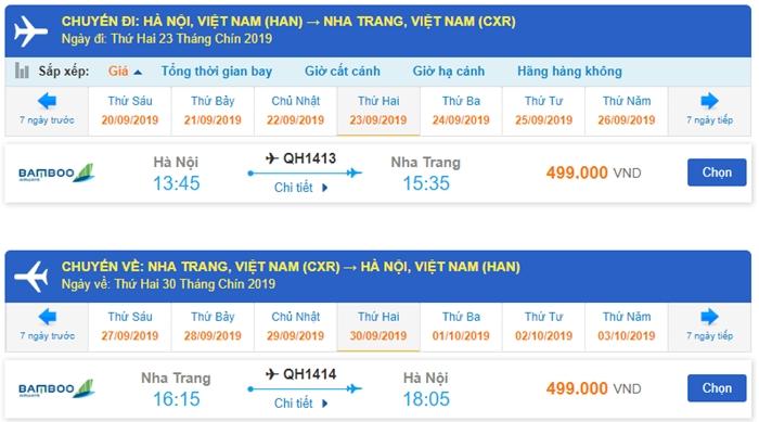 Giá vé máy bay khứ hồi đi Nha Trang từ Hà Nội