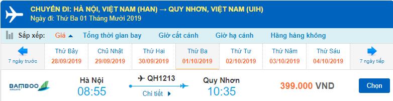 Giá vé máy bay về Quy Nhơn của Bamboo Airways