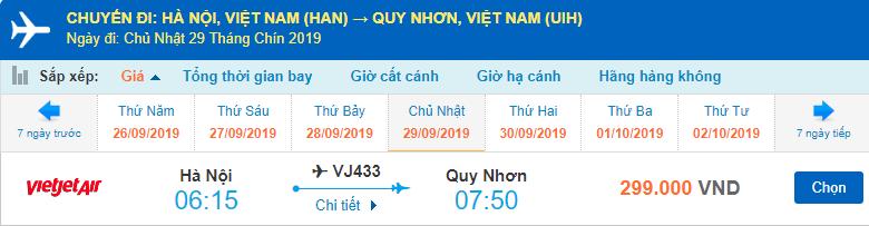 Giá vé máy bay đi Quy Nhơn Vietjet Air từ Hà Nội