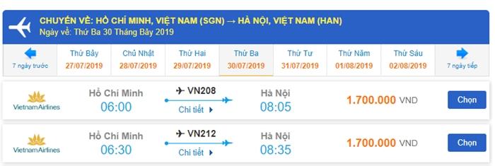 Vé máy bay khứ hồi Hà Nội đi Sài Gòn