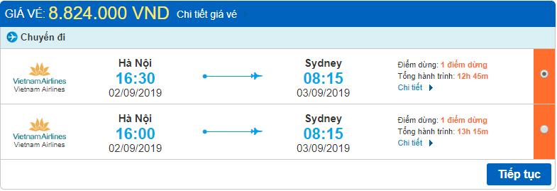 Giá vé Hà Nội đi Sydney Vietnam Airlines