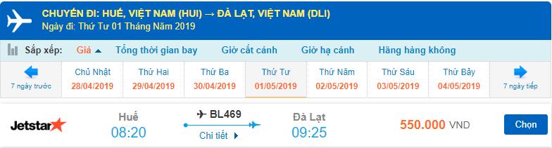 Vé máy bay Huế đi Đà Lạt