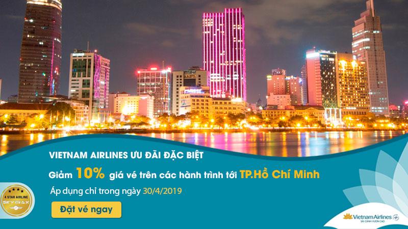 Khuyến mãi giảm 10% giá vé máy bay nhân ngày 30/4 từ Vietnam Airlines
