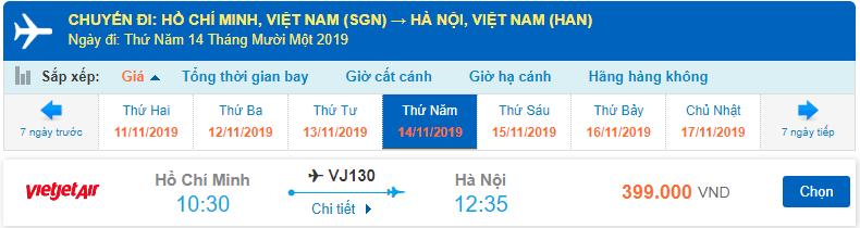 Giá vé máy bay đi Hà Nội Tháng 11 Vietjet