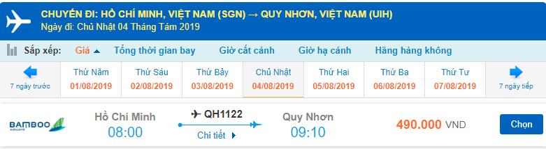 Giá vé máy bay đi Quy Nhơn Tháng 8 Bamboo Airways