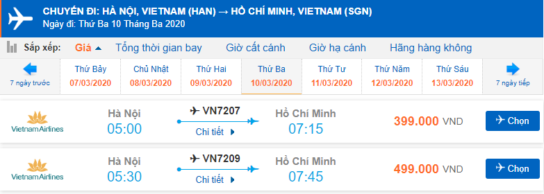 Giá vé máy bay 2 chiều Hà Nội Sài Gòn Vietnam Airlines