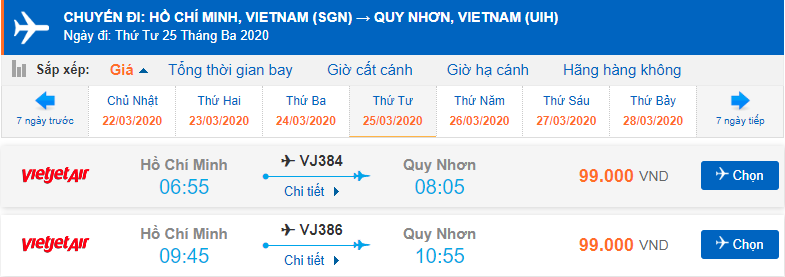 Giá vé máy bay Sài Gòn Quy Nhơn Vietjet