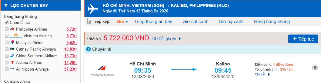 Giá vé máy bay TPHCM đi Boracay