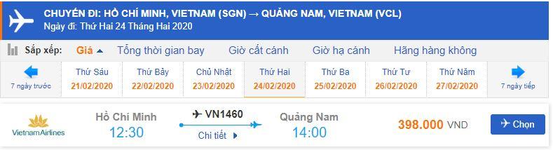 Giá vé máy bay Vietnam Airlines đi Chu Lai