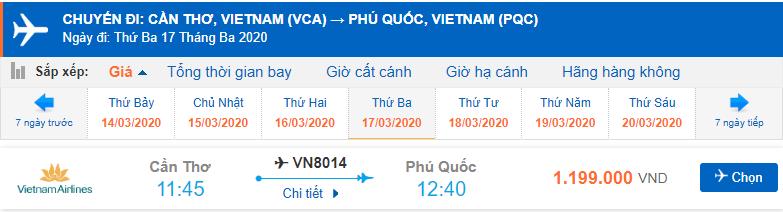 Vé máy bay Cần Thơ Phú Quốc