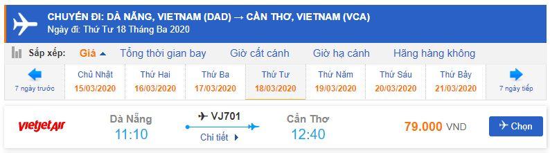 Giá vé máy bay Đà Nẵng Cần Thơ Vietjet