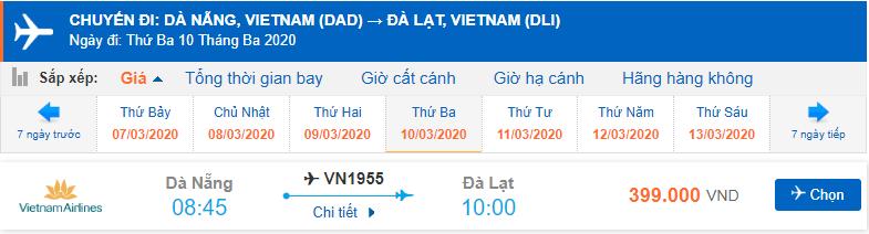 Giá vé máy bay Đà Nẵng đi Đà Lạt Vietnam Airlines