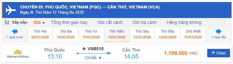 Giá vé đi Cần Thơ từ Phú Quốc