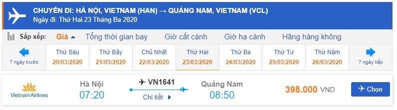 Vé máy bay từ Hà Nội đi Chu Lai Vietnam Airlines