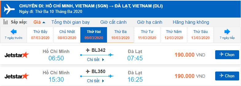 Vé máy bay Huế Đà Lạt của Jetstar Pacific từ Hồ Chí Minh