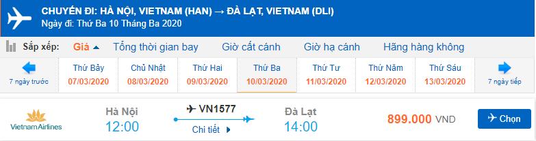 Vé máy bay đi Đà Lạt tháng 3 từ Hà Nội Vietnam Airlines