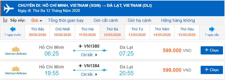 Giá vé máy bay đi Đà Lạt tháng 5 từ Hồ Chí Minh