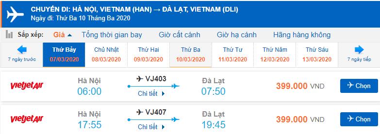 Vé máy bay Hà Nội Liên Khương Đà Lạt Vietjet