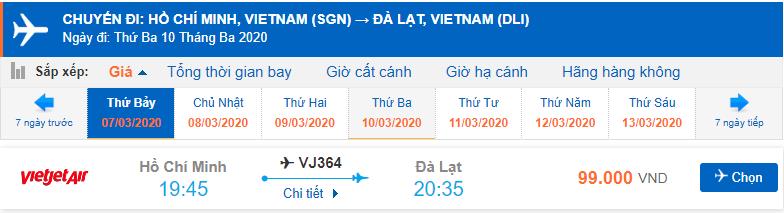 Vé máy bay đi Đà Lạt từ Hồ Chí Minh