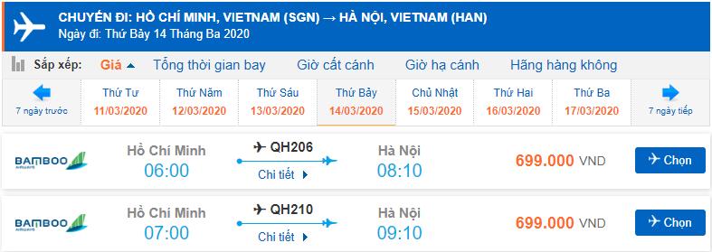 Vé máy bay đi Hà Nội Bamboo Airways baonhiêu tiền?